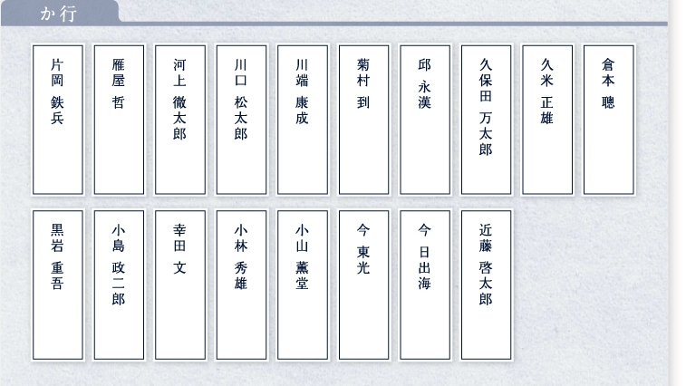 満寿屋を愛した偉人達(か行)