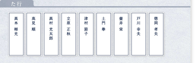 満寿屋を愛した偉人達(た行)